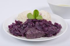 Tempeh with red cabbage and sorghum on a white. Background royalty free stock images