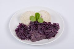 Tempeh with red cabbage and sorghum on a white. Background royalty free stock photo
