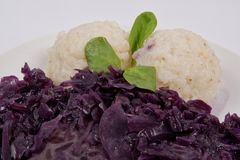 Tempeh with red cabbage and sorghum on a white. Background royalty free stock image