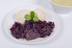 Tempeh with red cabbage and sorghum on a white. Background stock photos