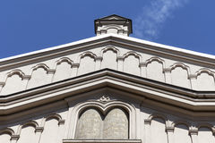 Tempel犹太教堂门面细节在克拉科夫,波兰犹太区  免版税库存照片