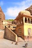 Tempel-Affe-Tempel Galta Ji Mandir nahe Jaipur, Indien Lizenzfreies Stockbild