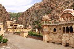 Tempel-Affe-Tempel Jaipur, Indien Galta Ji Mandir Lizenzfreie Stockfotos