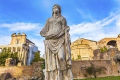 Tempel Antonius Faustina Roman Forum Rome Italy för Vestaloskuld arkivfoto