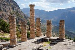 Tempel av Apollo, forntida arkeologisk plats av Delphi royaltyfri fotografi