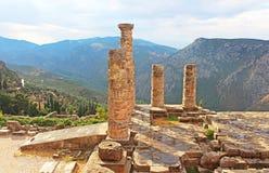 Tempel av Apollo i Delphi, Grekland Arkivfoton