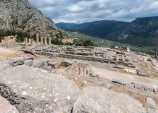 Tempel av Apollo på Delphi Royaltyfri Fotografi