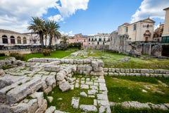Tempel av Apollo (Syracuse) Fotografering för Bildbyråer