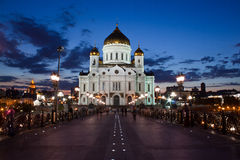 Tempel av christ frälsaren i moscow Arkivbilder