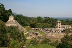 Tempel av de lämnade inskrifterna och den högra/Palenque slotten, Mexico Royaltyfri Foto