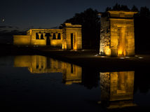 Tempel av Debod Egyptiskt tempel i Madrid berömd landmark royaltyfri foto