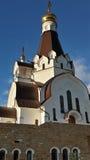 Tempel av den heliga krigaren Feodor Ushakov, Ryssland kyrka Fotografering för Bildbyråer