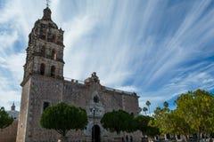 Tempel av den obefläckade befruktningen i Alamos, Mexico Fotografering för Bildbyråer