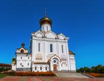 Tempel av den storslagna hertiginnan Elizabeth för helig martyr eller helgonElisabet den kyrkliga domkyrkan i staden Khabarovsk arkivbild