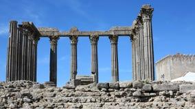 Tempel av diana, evora, Portugal Arkivfoton
