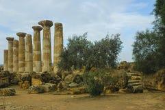 Tempel av Ercole i Sicilien arkivbilder