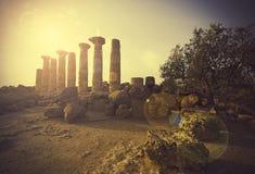 Tempel av Heracles, Agrigento Royaltyfria Foton