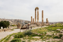 Tempel av Hercules i Amman, Jordanien Arkivbilder