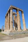Tempel av olympiska Zeus, Aten, Grekland Arkivfoto