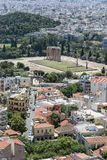 Tempel av olympiska Zeus, Aten, Grekland, Europa, arkivbild