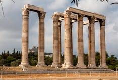 Tempel av olympiska Zeus Athens Arkivbilder
