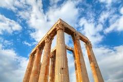 Tempel av olympiska Zeus i Aten Arkivfoto