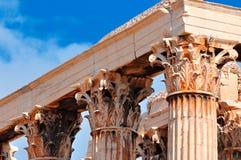 Tempel av olympiska Zeus, slutsikt Arkivfoto