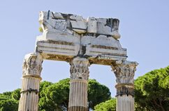 Tempel av Pollux och castoren i romerskt fora, Italien arkivfoto
