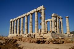 Tempel av Poseidon. royaltyfria foton
