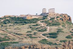 Tempel av Poseidon på udde Sounio Fotografering för Bildbyråer