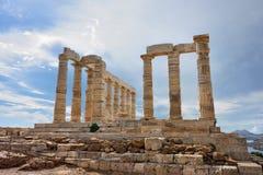 Tempel av Poseidon på udde Sounion Attica Greece Arkivbilder