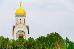 Tempel av St George på den Poklonnaya kullen i Moskva, Ryssland Arkivfoton