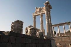 Tempel av Trajan på Pergamos Arkivfoto