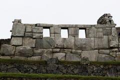 Tempel av trena Windows Machu Picchu Peru Arkivfoto