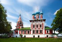 Tempel av Tsarevich Dmitry på blodet av den Uglich staden Royaltyfria Foton