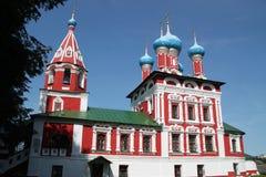 Tempel av Tsarevich Dmitry på blodet av den Uglich staden Arkivfoto