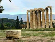 Tempel av zeusen, Athens arkivfoto