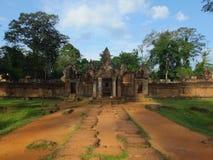 Tempel Banteay Srei在吴哥窟,柬埔寨 免版税库存图片