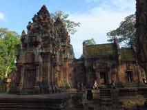 Tempel Banteay Srei在吴哥窟,柬埔寨 库存图片