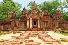 Tempel Banteay Srei in Angkor royalty-vrije stock foto's