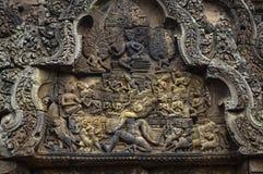 Tempel BANTEAY SREI, weit preisend als ` kostbares Edelstein ` oder das ` Juwel der Khmerkunst ` stockfotos