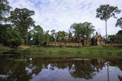 Tempel BANTEAY SREI, weit preisend als ` kostbares Edelstein ` oder das ` Juwel der Khmerkunst ` stockbilder