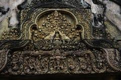 Tempel BANTEAY SREI, weit preisend als ` kostbares Edelstein ` oder das ` Juwel der Khmerkunst ` lizenzfreie stockfotografie