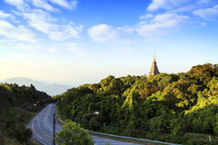 Tempel bij doi inthanon berg, Chiang Mai, Thailand Stock Foto