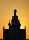 Tempel bij zonsondergang. Stock Afbeelding