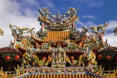 Tempel-Dach-Dekoration, Taiwan Lizenzfreie Stockfotos