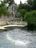 Tempel de Diane, Jardins de la Fontaine, Nimes (Frankrike) Arkivbild