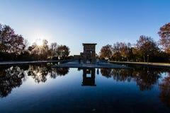 Tempel Debod i Madrid Arkivfoto