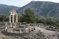 Tempel in Delphi Stockfotografie