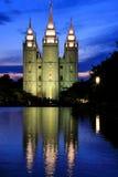 Tempel der Kirche von Jesus Christ neuzeitlichen Heilige reflec stockbild